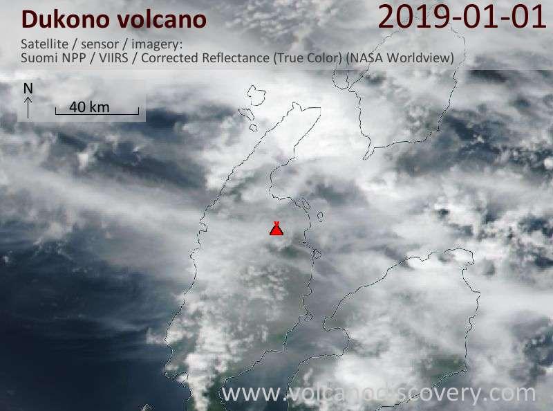 Satellite image of Dukono volcano on  1 Jan 2019