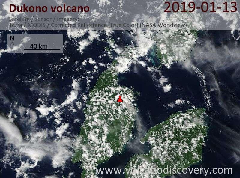 Satellite image of Dukono volcano on 13 Jan 2019