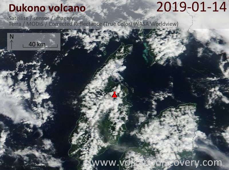 Satellite image of Dukono volcano on 14 Jan 2019