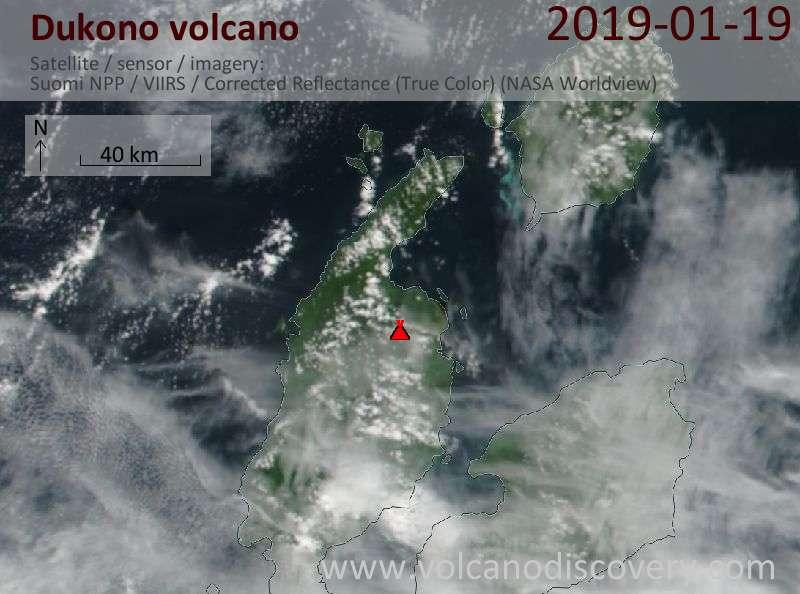 Satellite image of Dukono volcano on 19 Jan 2019
