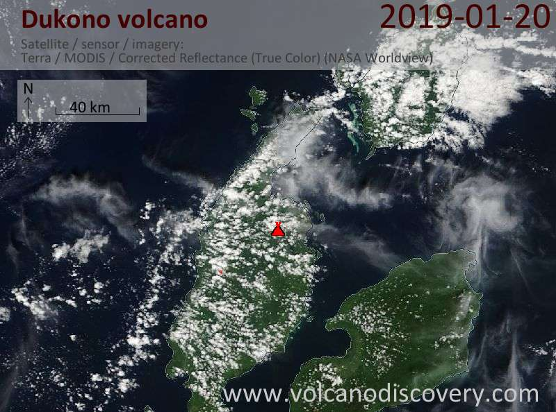 Satellite image of Dukono volcano on 20 Jan 2019