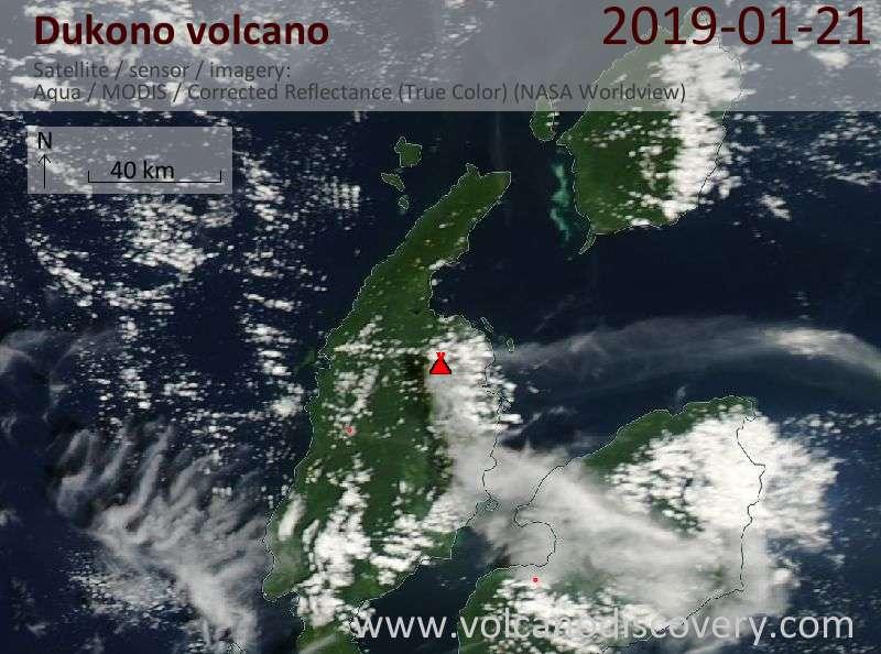 Satellite image of Dukono volcano on 21 Jan 2019