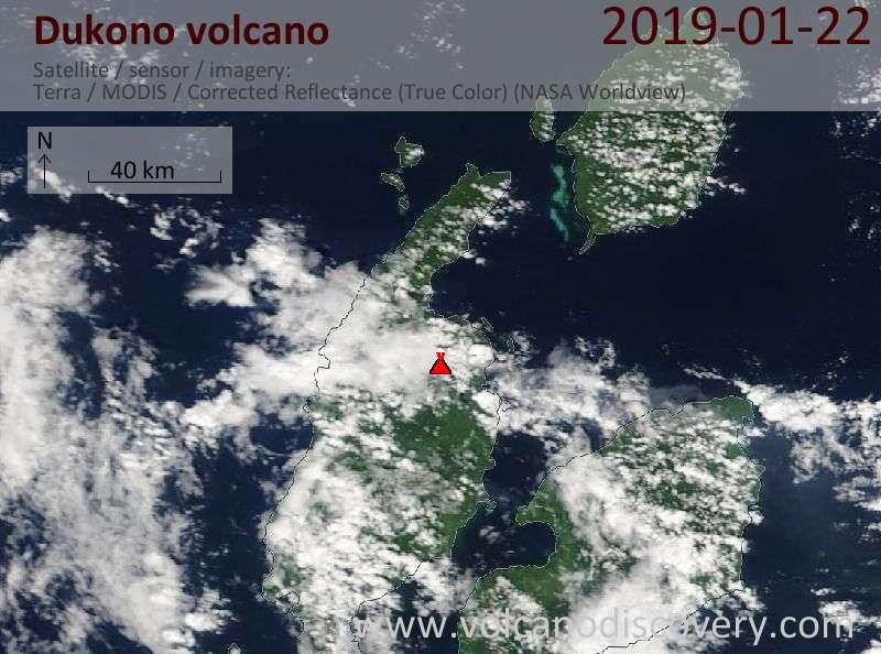 Satellite image of Dukono volcano on 22 Jan 2019