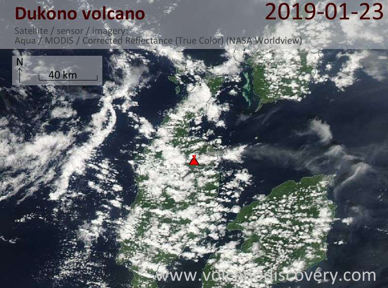 Satellite image of Dukono volcano on 23 Jan 2019