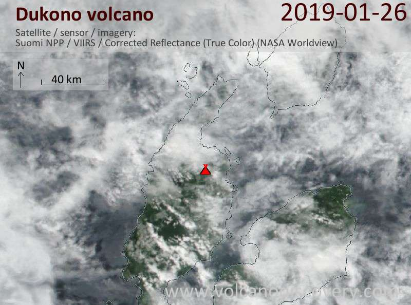 Satellite image of Dukono volcano on 26 Jan 2019