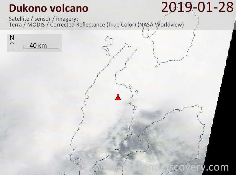 Satellite image of Dukono volcano on 28 Jan 2019