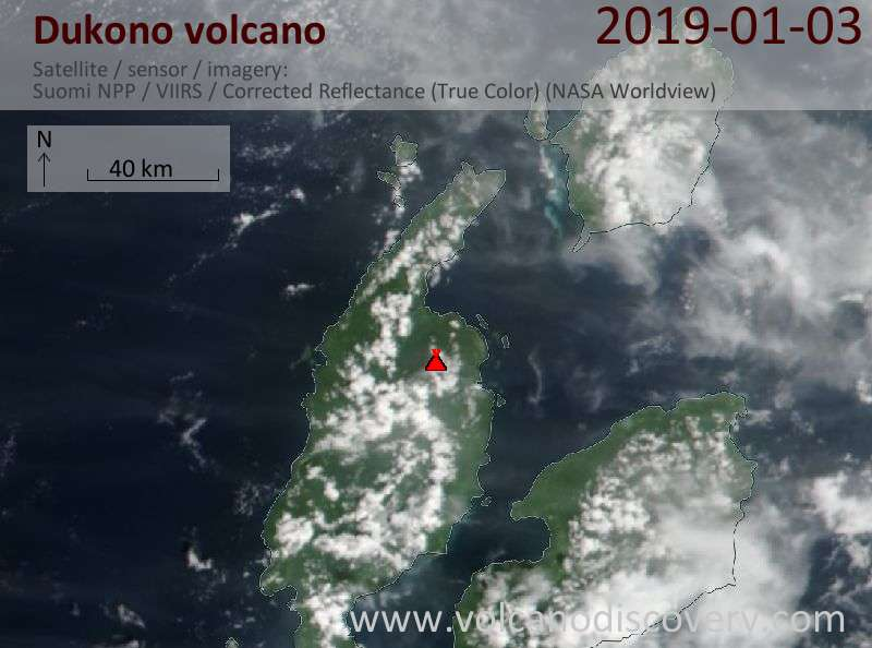 Satellite image of Dukono volcano on  3 Jan 2019