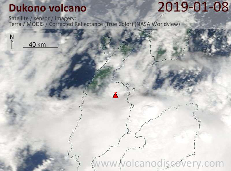 Satellite image of Dukono volcano on  8 Jan 2019