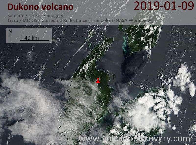 Satellite image of Dukono volcano on  9 Jan 2019