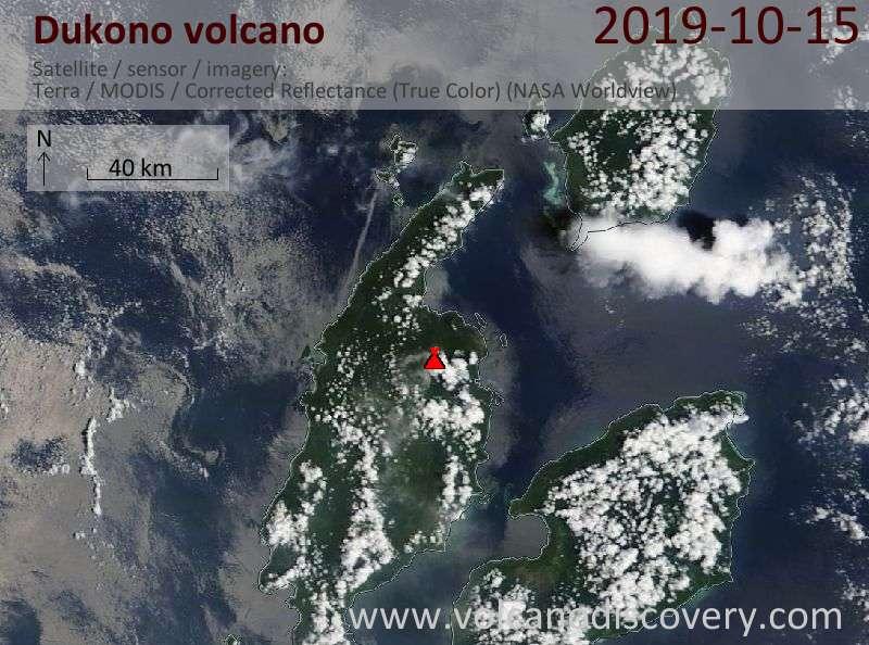 Satellite image of Dukono volcano on 15 Oct 2019