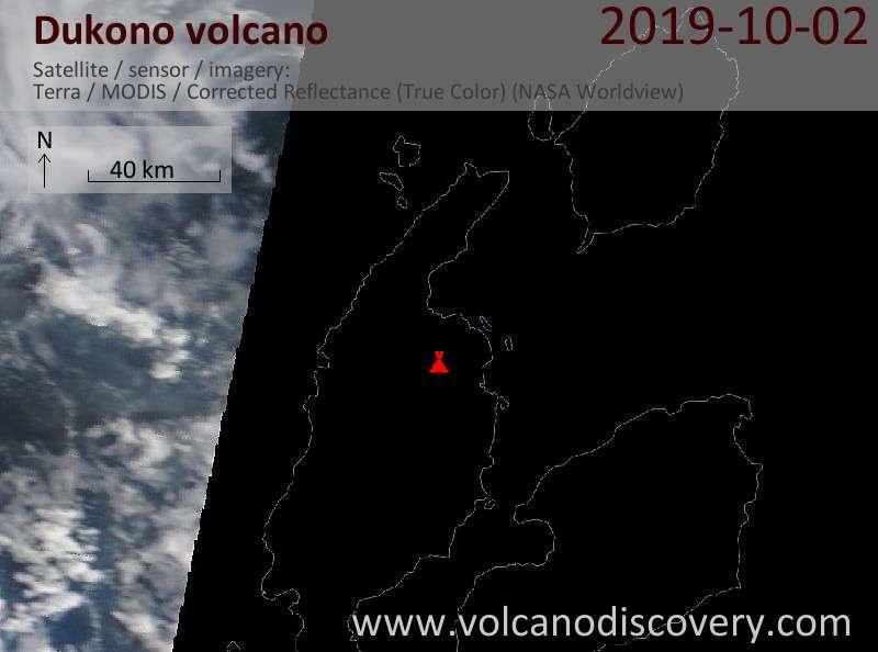 Satellite image of Dukono volcano on  2 Oct 2019