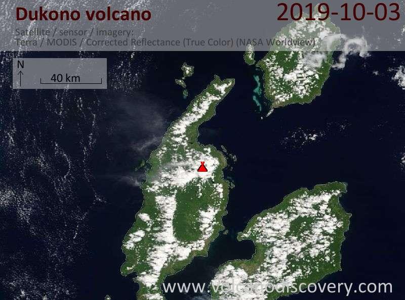 Satellite image of Dukono volcano on  3 Oct 2019