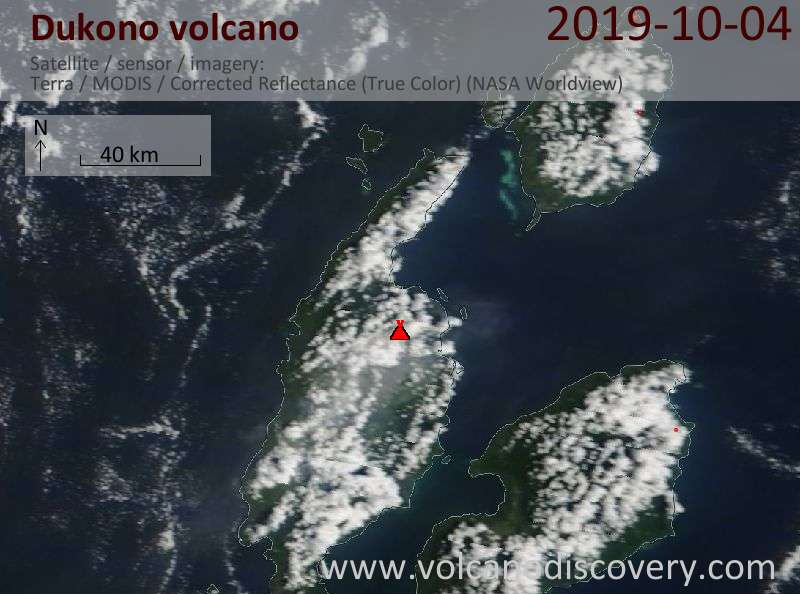 Satellite image of Dukono volcano on  4 Oct 2019