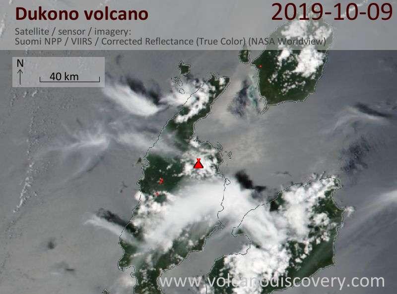 Satellite image of Dukono volcano on  9 Oct 2019