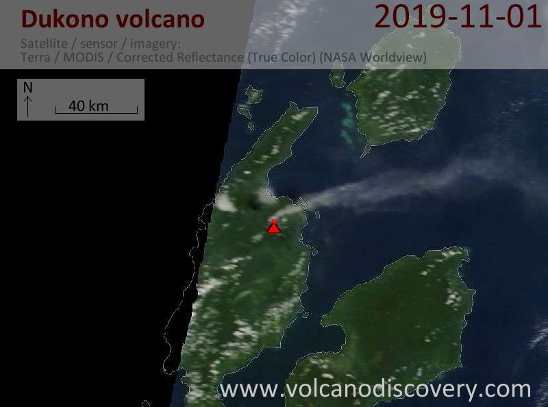 Satellite image of Dukono volcano on  1 Nov 2019
