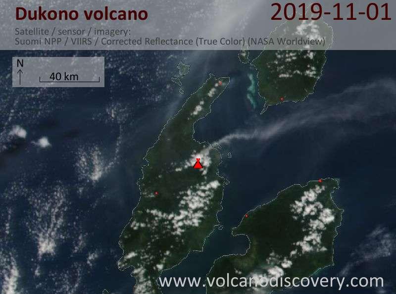 Satellite image of Dukono volcano on  2 Nov 2019
