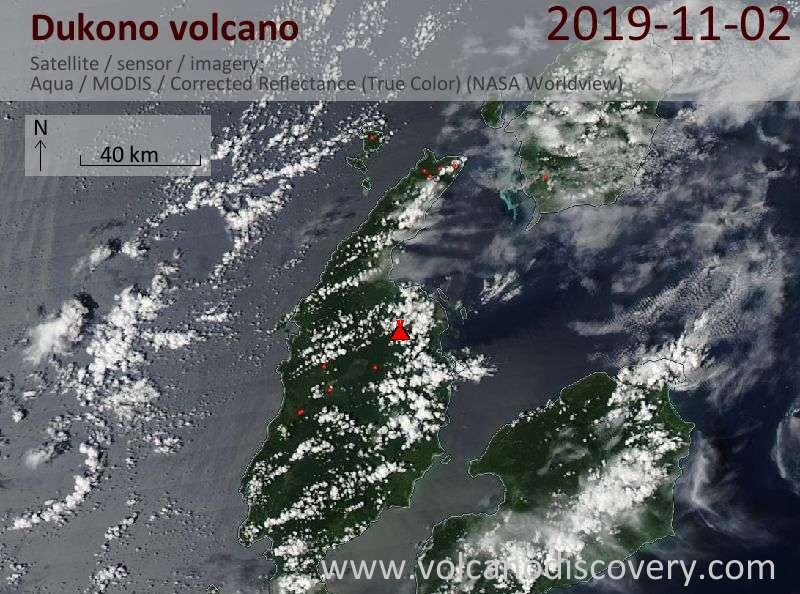Satellite image of Dukono volcano on  3 Nov 2019