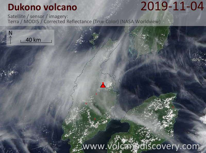 Satellite image of Dukono volcano on  4 Nov 2019
