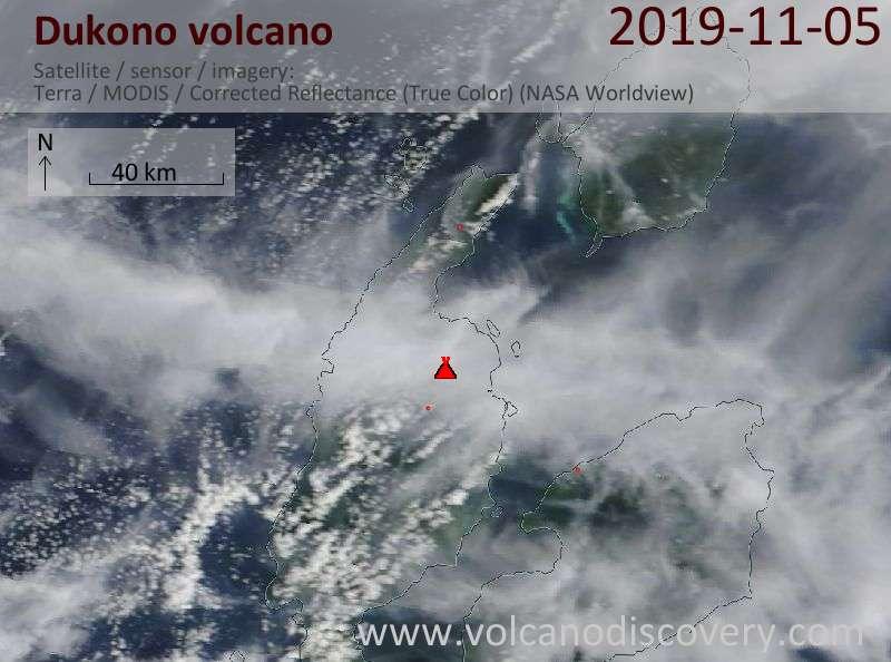 Satellite image of Dukono volcano on  5 Nov 2019