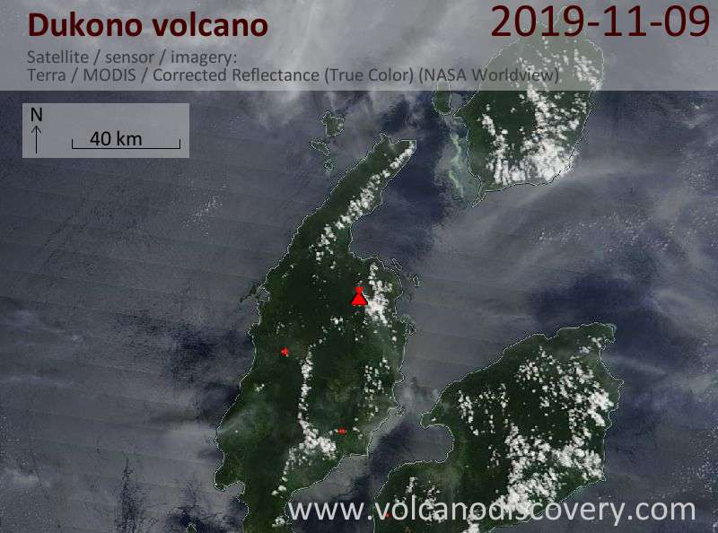 Satellite image of Dukono volcano on  9 Nov 2019