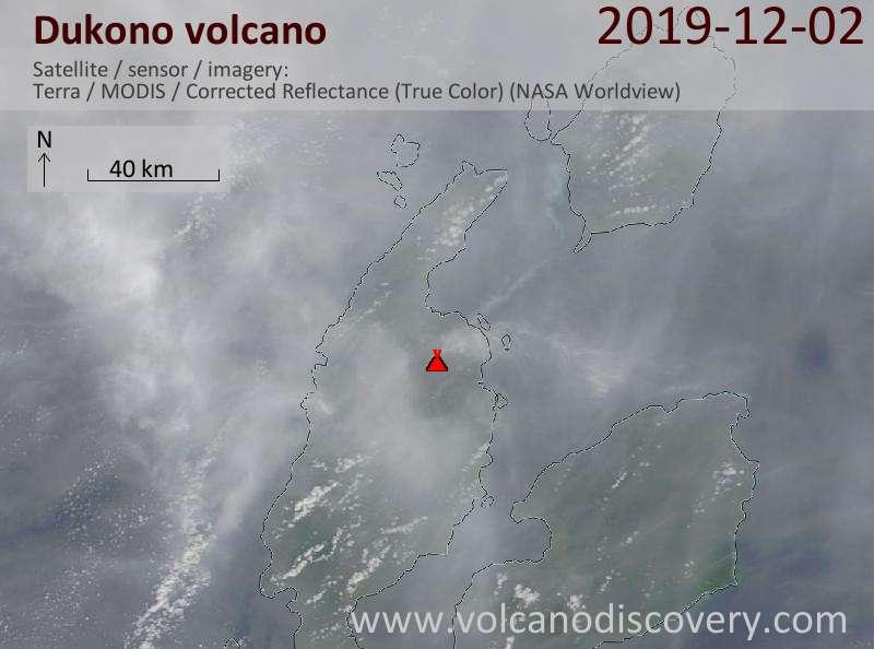 Satellite image of Dukono volcano on  2 Dec 2019