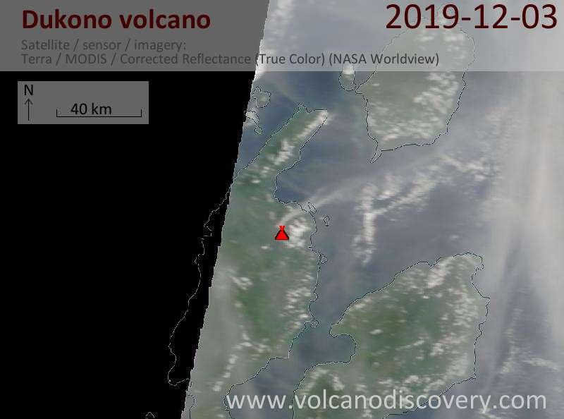 Satellite image of Dukono volcano on  3 Dec 2019