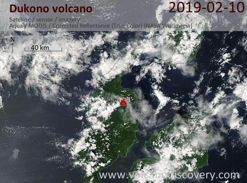 Satellitenbild des Dukono Vulkans am 10 Feb 2019