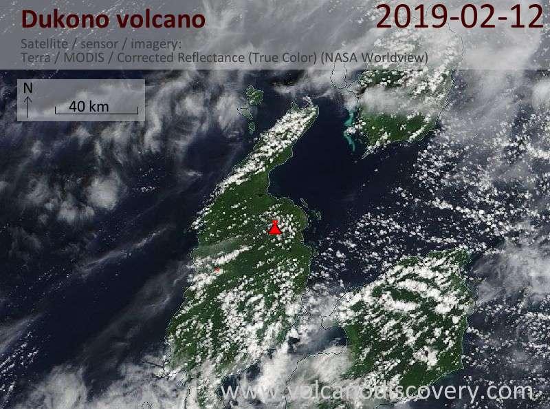 Satellitenbild des Dukono Vulkans am 12 Feb 2019