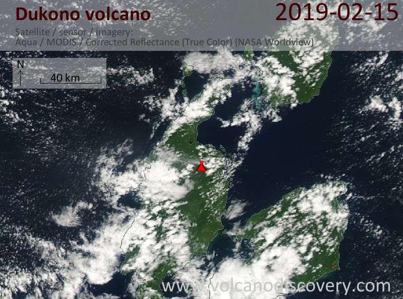 Спутниковое изображение вулкана Dukono 15 Feb 2019