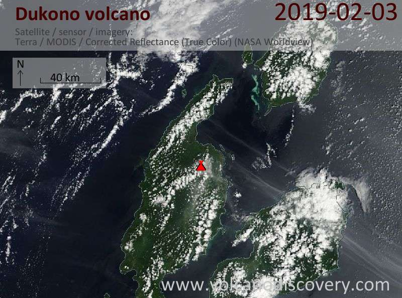 Satellite image of Dukono volcano on  3 Feb 2019