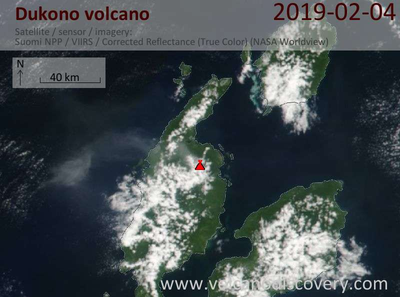 Satellite image of Dukono volcano on  4 Feb 2019