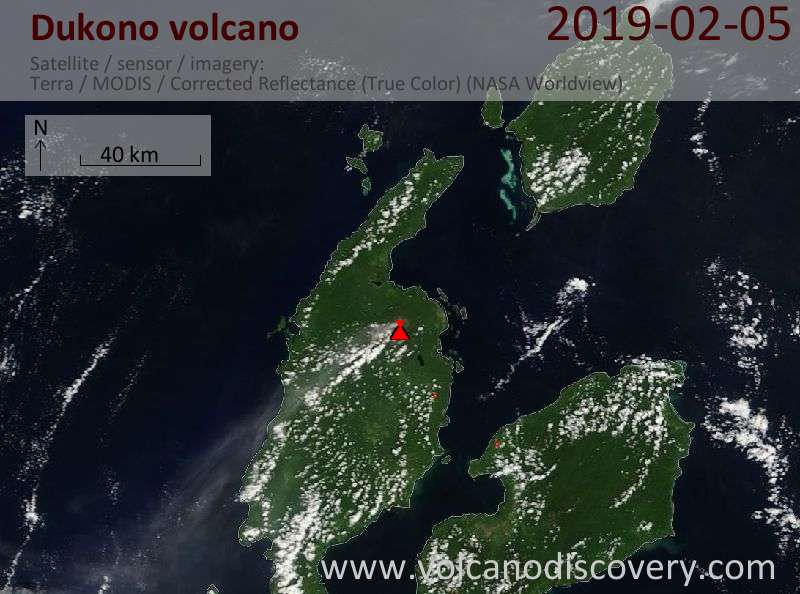 Satellite image of Dukono volcano on  5 Feb 2019