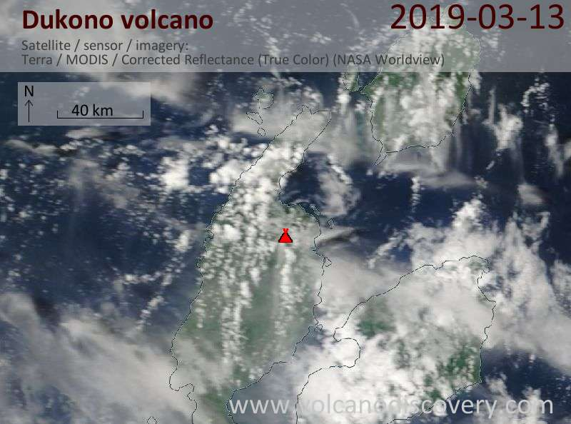 Satellite image of Dukono volcano on 13 Mar 2019