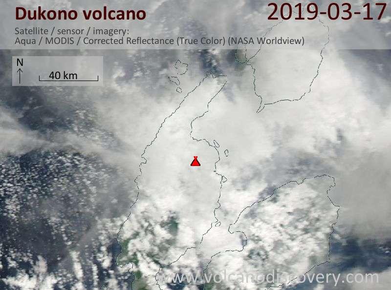 Satellite image of Dukono volcano on 17 Mar 2019