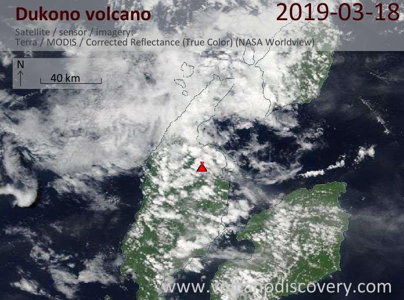 Satellite image of Dukono volcano on 18 Mar 2019
