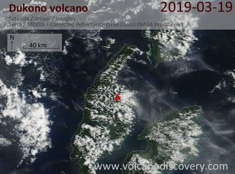 Satellite image of Dukono volcano on 19 Mar 2019