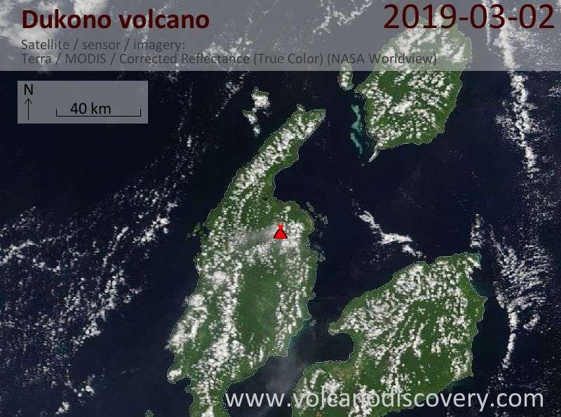 Satellite image of Dukono volcano on  2 Mar 2019