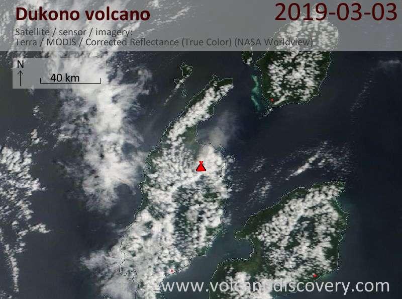 Satellite image of Dukono volcano on  3 Mar 2019