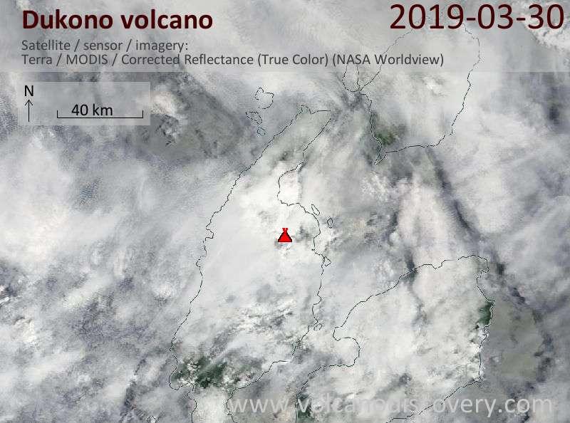 Satellite image of Dukono volcano on 30 Mar 2019