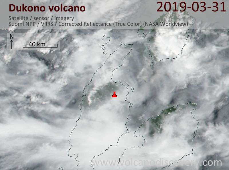 Satellite image of Dukono volcano on 31 Mar 2019
