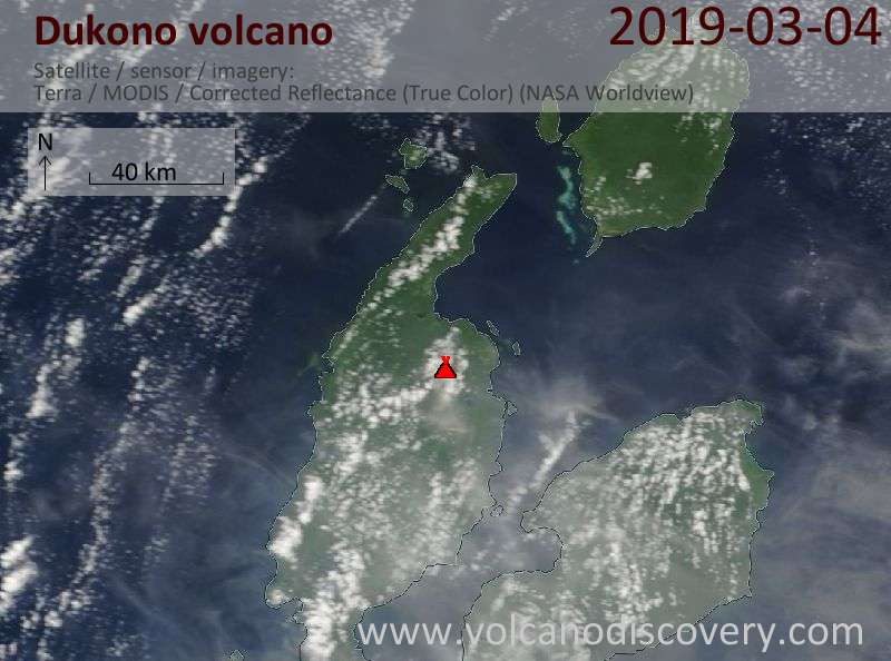Satellite image of Dukono volcano on  4 Mar 2019