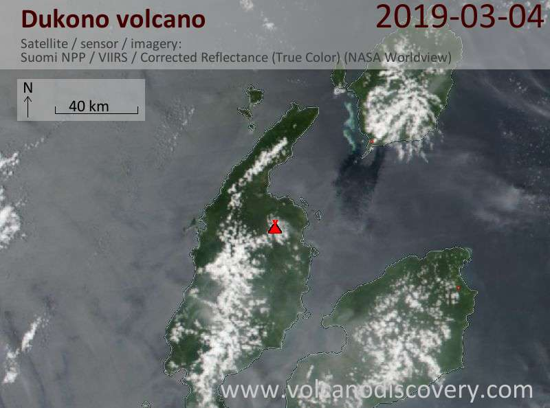 Satellite image of Dukono volcano on  5 Mar 2019