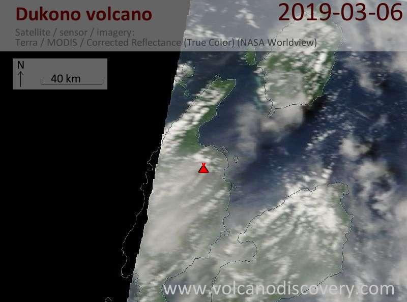 Спутниковое изображение вулкана Dukono  6 Mar 2019