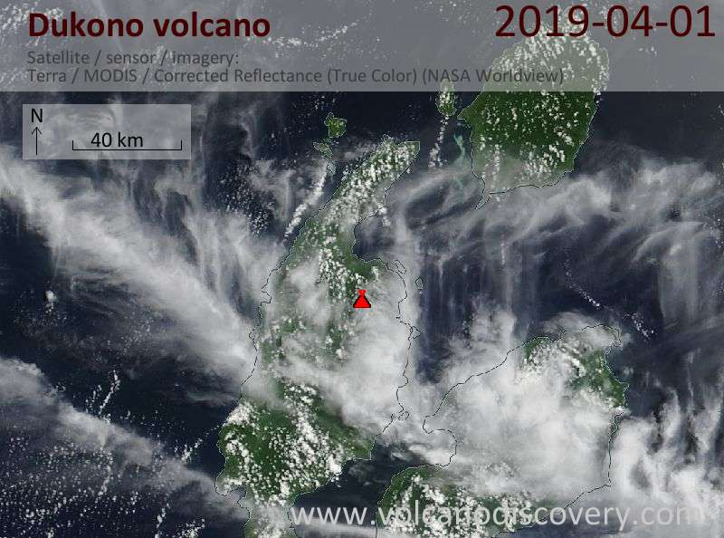 Satellite image of Dukono volcano on  1 Apr 2019