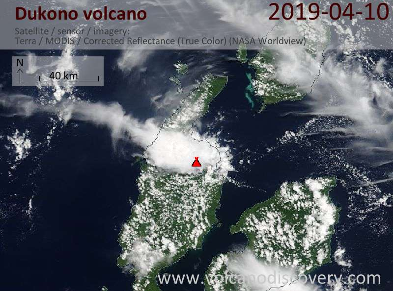 Спутниковое изображение вулкана Dukono 10 Apr 2019