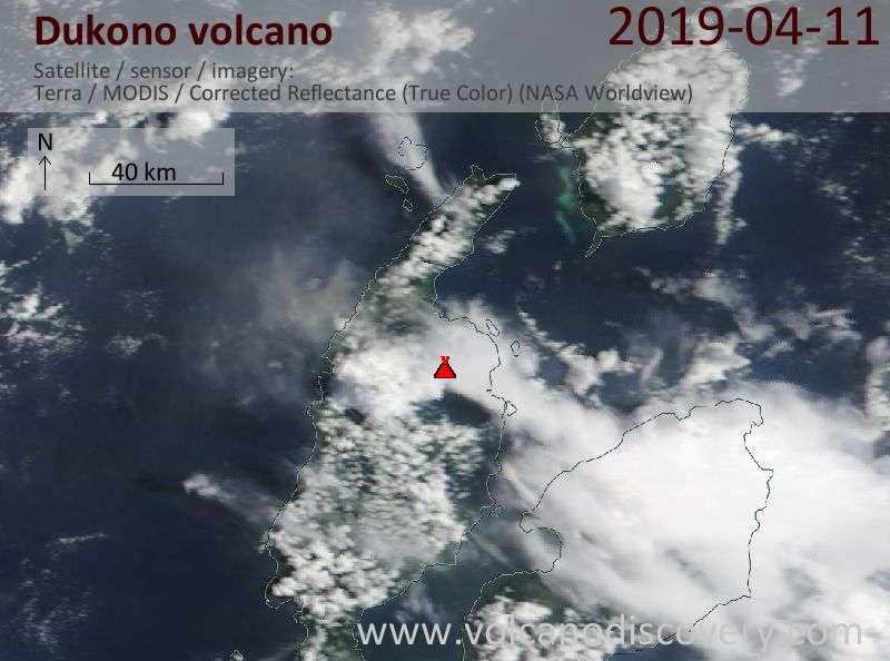 Satellite image of Dukono volcano on 11 Apr 2019