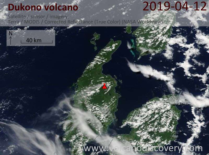 Satellite image of Dukono volcano on 12 Apr 2019