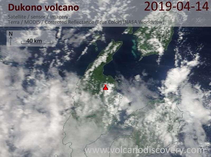 Satellite image of Dukono volcano on 14 Apr 2019