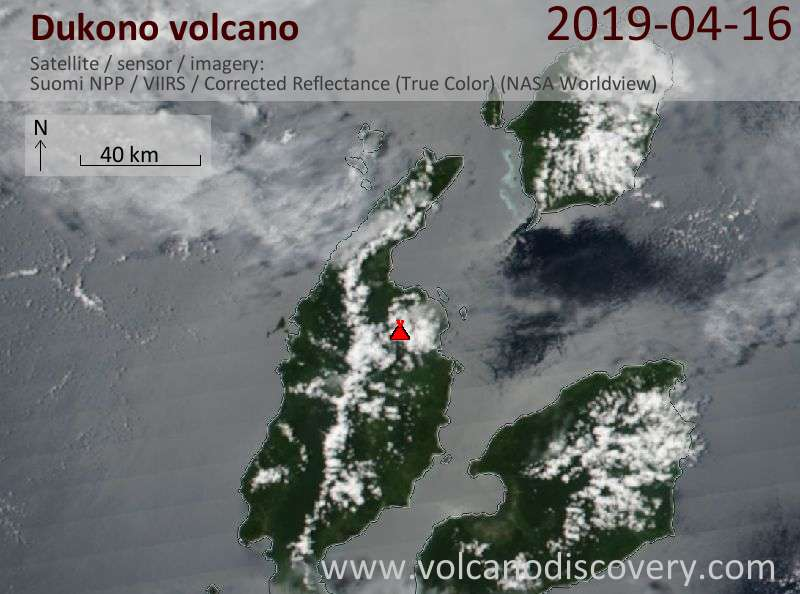Satellite image of Dukono volcano on 16 Apr 2019