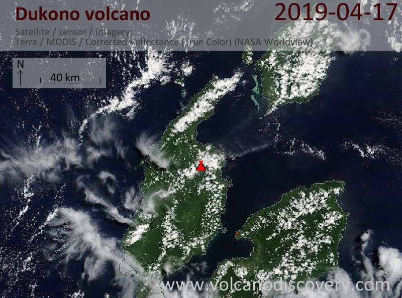 Satellite image of Dukono volcano on 17 Apr 2019